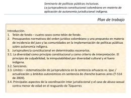 La jurisprudencia constitucional colombiana sobre jurisdicción