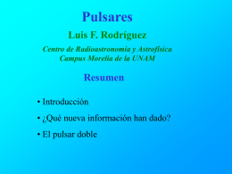 Una presentacion PowerPoint sobre pulsares