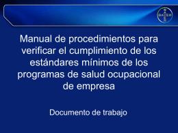 Manual de procedimientos para verificar el cumplimiento de los