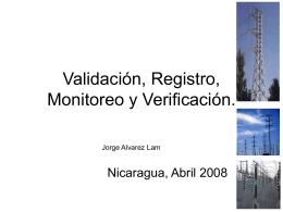 Validación, Registro, Monitoreo y Verificación