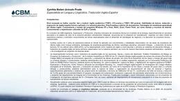 CV Cynthia Arévalo 01302012- - CBM Ingeniería Exploración y