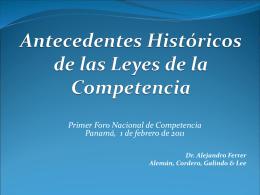 Antecedentes Históricos de la Leyes de la Competencia