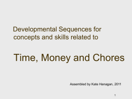 Developmental Sequence for concepts and skills related to