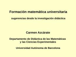 Formación matemática universitaria sugerencias