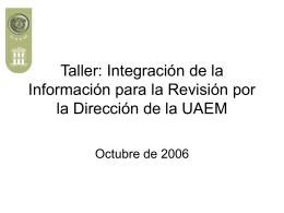 Taller para la integración de la Información para la Revisión por la