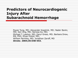 Predictors of Neurocardiogenic Injury After