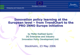 Innovation policy learning at the European level