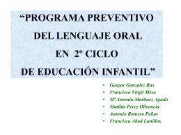 PROGRAMA PREVENTIVO DEL LENGUAJE ORAL EN 2º CICLO