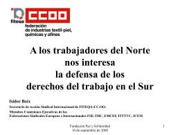 Solidaridad SINDICAL - Observatorio del Trabajo en la Globalización
