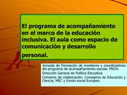 El programa de acompañamiento en el marco de la educación