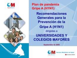Plan de pandemia Gripe A (H1N1) - Universidad Politécnica de