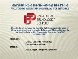 UNIVERSIDAD TECNOLOGICA DEL PERU FACULTAD DE
