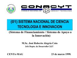 sistema apoyo innovacion - Consejo Nacional de Ciencia y