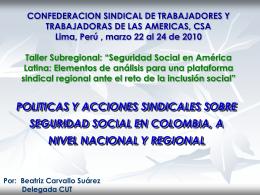 Políticas y acciones sindicales sobre seguridad social en Colombia