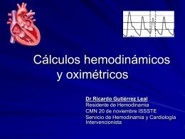 Cálculos hemodinámicos y oximetricos