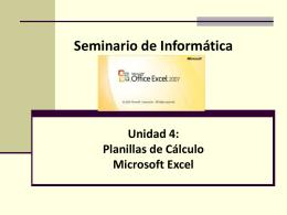 Planillas de Cálculo: Microsoft Excel 2013