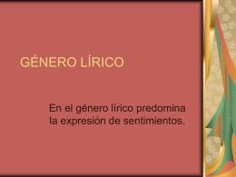 GENERO LIRICO - APUNTES DE LENGUAJE