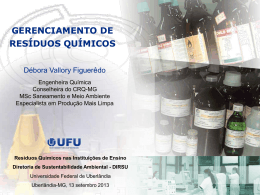 Gestão de Resíduos Químicos - Diretoria de Sustentabilidade