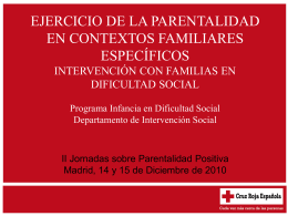 Familias en dificultad social - Ministerio de Sanidad, Servicios
