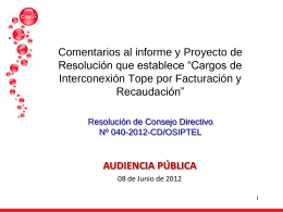 Comentarios al informe y Proyecto de Resolución que establece