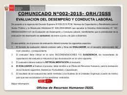 Comunicado 002 Evaluación de Desempeño