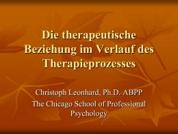 The therapeutische Beziehung im Verlauf des Therapieprozesses
