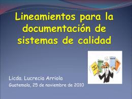 Lineamientos para la documentación de sistemas de calidad2
