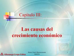 Capítulo III: las causas del Creciemiento Económico