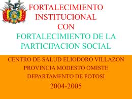 fortalecimiento institucional con fortalecimiento de la participacion