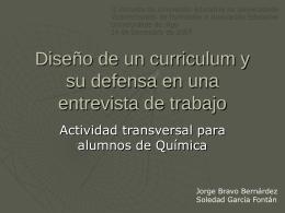 Diseño de un curriculum y su defensa en una entrevista de