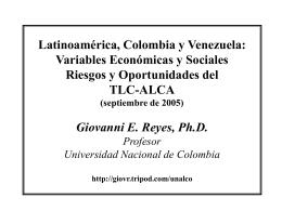 ALCA y ALC: Oportunidades y Riesgos Giovanni E. Reyes