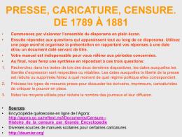 Caricature, presse et censure de 1789 à 1881