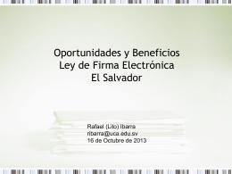 Oportunidades y Beneficios Ley de Firma Electrónica El Salvador