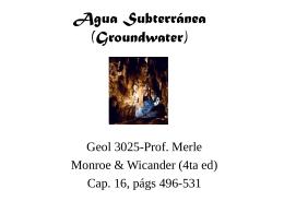 Agua Subterranea (Groundwater)