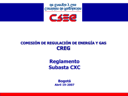 Reglamento Subasta CXC - Comisión de Regulación de Energía y