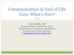 Communication in End of Life Care