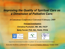 Improving the Quality of Spiritual Care as a Dimension of Palliative