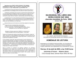dia mundial del libro 2004 homenaje de lectura