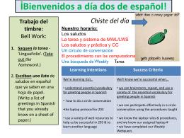 İBienvenidos a día dos de español! - El Sitio de Srta. Berndt