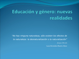 Educación y género: nuevas realidades