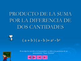 producto de la suma por la diferencia de dos cantidades