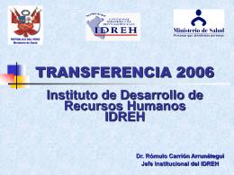 IDREH - Ministerio de Salud