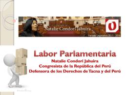 LABOR LEGISLATIVA - congresista natalie condori jahuira en