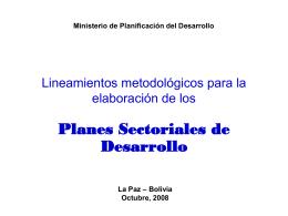 """Plan Nacional de Desarrollo """"Bolivia Digna, Soberana, Productiva y"""