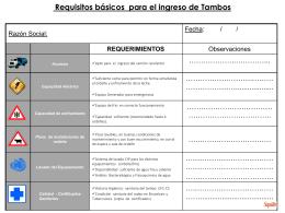 Requisitos Básicos Para El Ingreso De Tambos