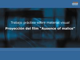 """Proyección del film """"Ausence of malice"""""""