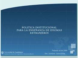 Propuesta de Política Institucional para la Enseñanza de Idiomas