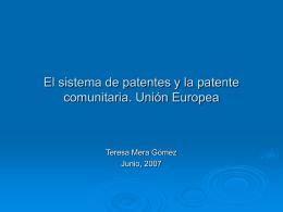 El Sistema de Patentes y la Patente