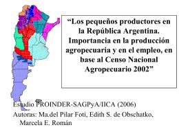 Los pequeños productores en la República Argentina. Importancia