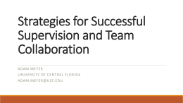 6.4 Supervision Strategies (revised)